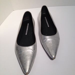 Silver Pointy Toed Flats